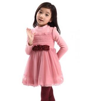 [CAIXINGYI] 女の子 子供服 おしゃれ 超可愛い 長袖ワンピース トップス 通園 通学 キッズ ベビー 厚い 秋&冬 タイプ サイズ 100 110 120 130 140 150 (ピンク, 100)
