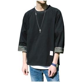 [コートリーバ] Tシャツ 7分袖 カモフラージュ カットソー 迷彩 丸首 ロング ゆったり カジュアル 黒 メンズ XL