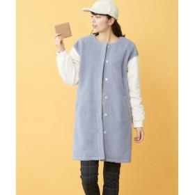 異素材コンビボア切替コート (大きいサイズレディース)コート, plus size coat, 大衣