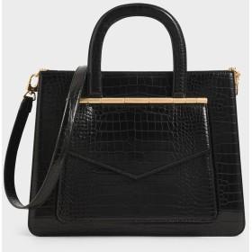 【2019 WINTER 新作】クロックエフェクトストラクチャード トートバッグ / Croc-Effect Structured Tote Bag (Black)