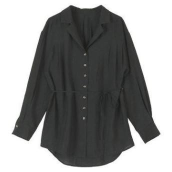 ティティベイト titivate ウエストリボンゆるシャツ/ブラウス (ブラック)