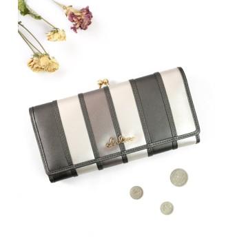カッズ 財布 長財布 レディース がま口 大容量 フラップ 札入れ 二層 ストライプ がま口長財布 レディース ホワイト系2 F 【KAZZU】