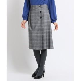 SunaUna / スーナウーナ 【洗える】ツイルチェックラップ風スカート