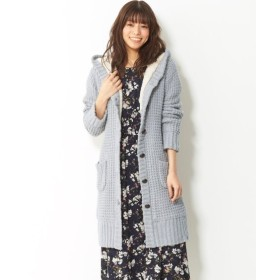 裏ボアニットコーディガン(共布ベルト付) (大きいサイズレディース)コート, plus size, Coat, 大衣