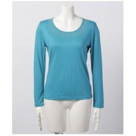 80%OFF odds on complex (オッズオンコンプレックス) 胸元ラインストーン付き長袖Tシャツ ブルーグリーン
