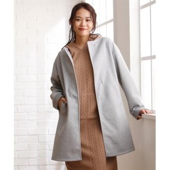 楽々ノーカラーコート【Aller Bien】 (大きいサイズレディース)コート, plus size coat, 大衣