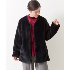 ノーカラーエコファーコート(FIFTH) (大きいサイズレディース)コート,plus size