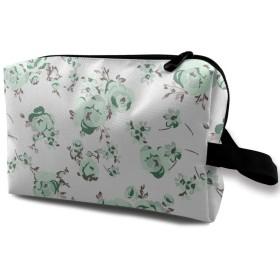 緑バラ 花柄 化粧品袋 トラベルコスメティックバッグ 防水 大容量 荷物タグ付き 旅行収納ポーチ アレンジケース パッキングオーガナイザー 出張 旅行 衣類収納袋 スーツケース整理 インナーバッグ メッシュポーチ 収納ポーチ