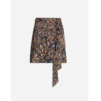 リース REISS レディース ミニスカート スカート Yvette graphic-print crepe mini skirt Navy