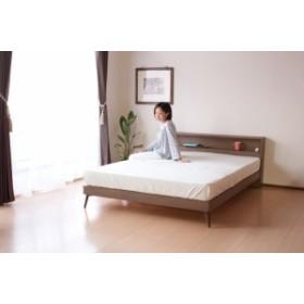 ≪送料無料≫ 北欧テイスト棚・コンセント付きダブルベッド/Mob フレームのみ ローベッド 木製ベッド ダブル ベッド ダブルサイズ 北欧