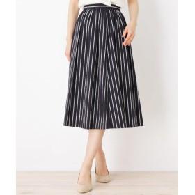 ひざ丈スカート - SOUP ストライプギャザーフレアスカート