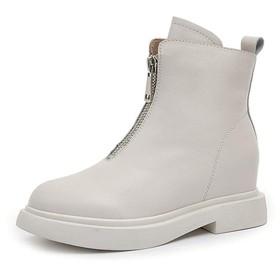 [Kg8d] ショートブーツ 防水性 ホワイト レディース靴 マーチンブーツ 女性用 ジップアップ フロントファスナー 3.5cmヒールアップ 太ヒール オシャレ 美脚 22.5cm 履きやすい 耐磨耗 通気性 コンフォート オフィス レインブーツ