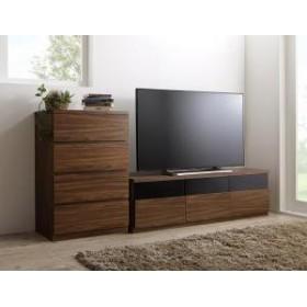 + 4杯 木製 幅60 50型 幅140 引出し TV-line チェスト 2点セット ローボード テレビライン テレビボード ウォルナットブラウン
