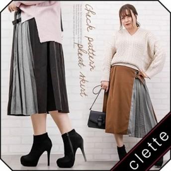 大きいサイズ/レディース/LL/3L/4L/チェック柄プリーツ切替スカート