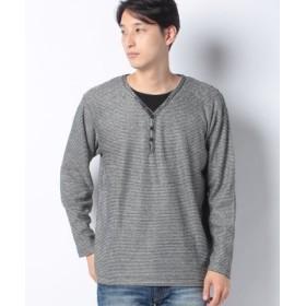 (MARUKAWA/マルカワ)大きいサイズ ブークレ Vヘンリーネック 長袖Tシャツ/メンズ ブラック