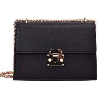 シンプルなショルダー、多目的ロック小さな正方形のバッグ、小さなチェーンメッセンジャーバッグ、ファッションハンドバッグ、-black