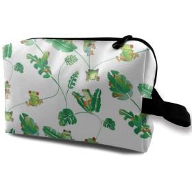 カエルと葉 緑 化粧品袋 トラベルコスメティックバッグ 防水 大容量 荷物タグ付き 旅行収納ポーチ アレンジケース パッキングオーガナイザー 出張 旅行 衣類収納袋 スーツケース整理 インナーバッグ メッシュポーチ 収納ポーチ