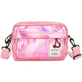 .COM上の女性のスカーフワイルドメッセンジャーバッグレーザー5つのキャンディー色のワンショルダー小スクエアバッグレディースキーハンドバッグポシェットのファム| Grou、ピンク