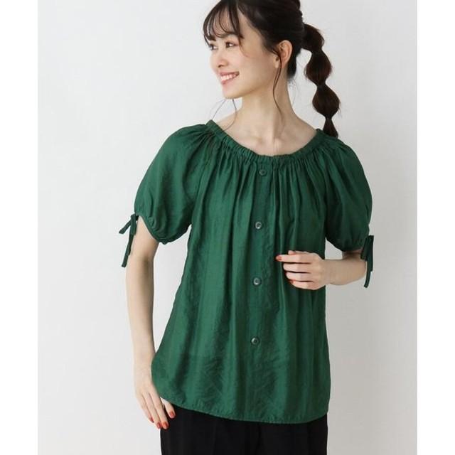 SOUP / スープ ゴム衿袖リボンシャツブラウス
