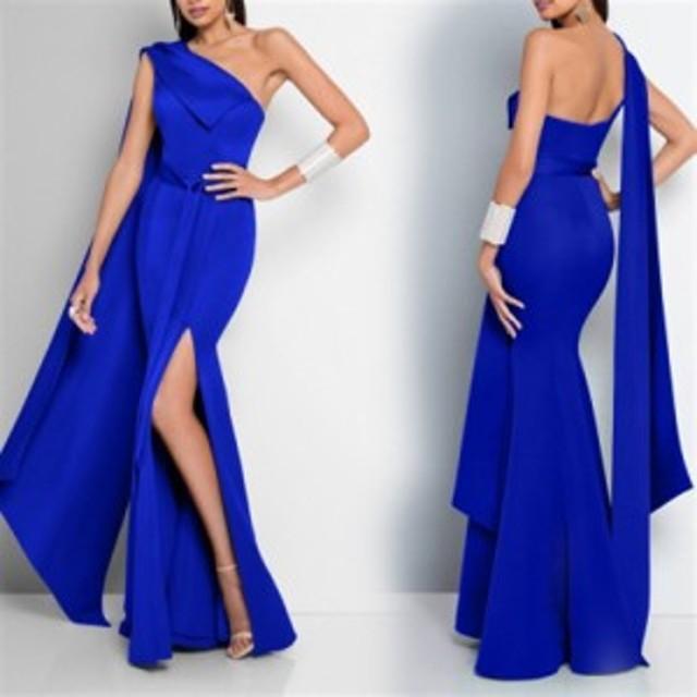 大きなサイズ(XLサイズ)ロングドレス キャバドレス キャバワンピ  sexyな肩魅せスタイルと深めのスリットデザイン ストレッチロングド