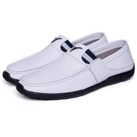 [ZJHZ] ローファー メンズ カジュアルサンダル ヒールなし おしゃれ ホワイト 白 おしゃれ 学生靴 本革 柔らかい 26.0cm 職場用 大きいサイズ スニーカー 通勤 アウトドア モカシン メンズ 大きいサイズ イギリス風 かかとなし 履き心地良い