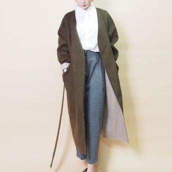 【冬支度・早割送料無料】大きいポケット リバーシブルコート(カーキ×アイボリー)19203