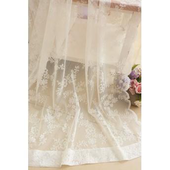 花柄 薄い レースカーテンカーテン 丈133CMx幅150CM,1組2枚入り,フランス風ロマンチック 白色 紗カーテン 部屋 客間 寝室,オーダーサイズ可