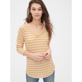 Gap ストライプ ワッフルニットVネックTシャツ