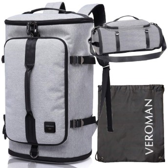 [Veroman] スポーツリュック メンズ ジムバッグ 旅行バッグ 大容量 防水 シューズ収納 30L ライトグレー