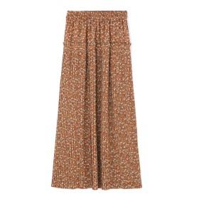 【公式/フリーズマート】フラワープリーツスカート/女性/スカート/ブラウン×グリーンフラワー/サイズ:FR/(表生地)ポリエステル 98% ポリウレタン 2%(裏生地)ポリエステル 100%