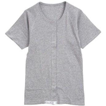 綿100% 前開き ワンタッチ肌着 半袖 Tシャツ インナー Uネック レディース 介護(HGY-杢グレー、M)