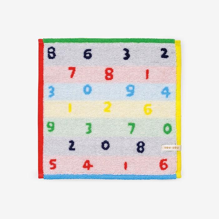 日本代購 - 【SOU·SOU】日本製今治純棉方巾-數字 (25x25cm)