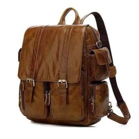 メンズバッグ ハイキングバックパック、バックパック、ラップトップバックパック大容量カジュアルバックパックファッションのトレンドトラベルバッグ レザーバッグ (Color : Brown, Size : S)