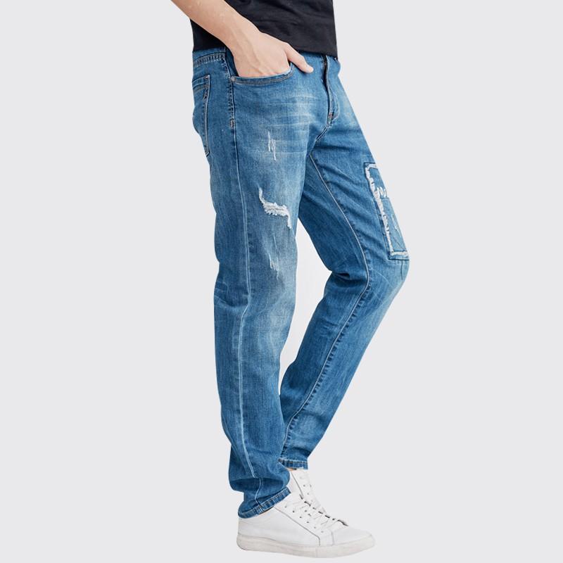 高磅數大彈力湛藍牛仔褲