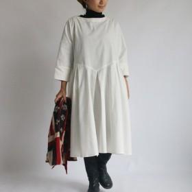 ◎●冬支度PRICE上質 紗織リネン麻コットン 生地でつくる 内タック ワンピース ゆったり 長袖 B63