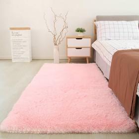 X−WYカーペット 滑り止め付 洗える ラグ 防塵抗菌防臭 (ピンク, 80×120CM)