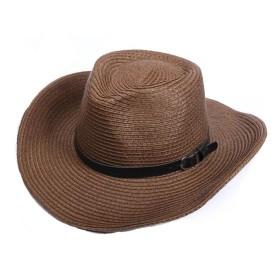 XKJPShop 帽子 大きなひさし日帽子夏の屋外クライミング釣り麦わら帽子UV保護ビーチキャップ付き調節可能なあごバンド 太陽の帽子、旅行 (Color : Brown)