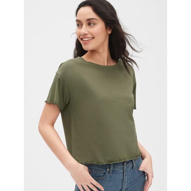 Gap ボクシー ラッフルエッジ クルーネックTシャツ