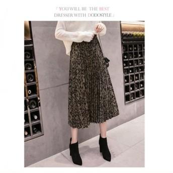 【送料無料】大きいサイズ レオパード プリーツスカート ミモレ丈 レオパード柄 ヒョウ柄 2カラー