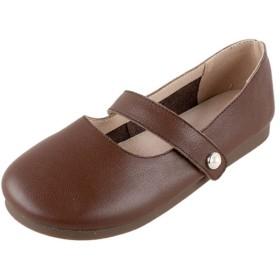 [AYBTO] ぺたんこ ブラック フラットシューズ バレエシューズ 甲ストラップ 柔らかい スリッパ 痛くない パンプス 甲浅 23.0cm 耐久性 上品 楽ちん 無地 モカシン 婦人靴 着心地よい ローファー ダンスシューズ カジュアル靴 ペタンコ ブラウン ラウンドトゥ