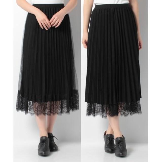 (axes femme/アクシーズファム)裾レースプリーツスカート/レディース ブラック