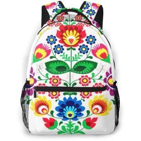 リュック バック 民俗花伝統的なポーランド語, リュックサック ビジネスリュック メンズ レディース カジュアル 男女兼用大容量 通学 旅行 鞄 カバン