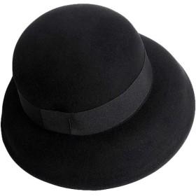 黒いベル形のウールのフェルト帽の女性の秋と冬のドームランプシェード帽子流域キャップ (Color : Black)