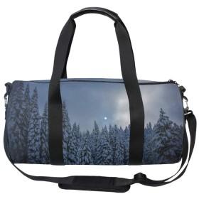 2ウェイボストンバッグ ダッフルバッグ 2WAY 冬の雪の森の木