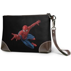 スパイダーマンSpiderman クラッチバッグ メンズ レディース セカンドバッグ ハンドバック 手持ちバッグ バッグインバッグ ジッパーウォレット ポーチ ケース 大きい財布 レザー 軽量 おしゃれプリント