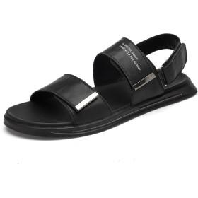 [GERUIQI] 男性用本革居心地の良い通気性の屋内シャワースリッパビーチスライド滑り止めフラットラウンドオープントゥソリッドバックル屋外サンダル (Color : Black sandal, サイズ : 24 CM)