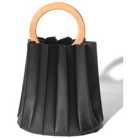 (COMME CA ISM/コムサイズム)ウッドハンドル プリーツバッグ/レディース ブラック