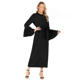 LKJASDHL 女性イスラム教徒マキシドレスベルスリーブアバヤロングローブガウンチュニックベルトレトロ快適なレースのスカート (色 : 黒, サイズ : 3XL)