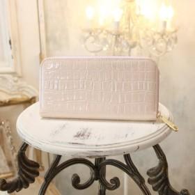 【永久無料保証】大人かわいい♪ エナメルクロコの型押し牛革 ピンク ラウンドファスナー長財布