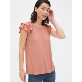 Gap ミックスファブリック ラッフルスリーブTシャツ